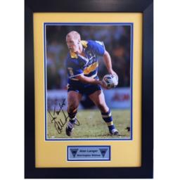 Alan Langer Warrington Wolves Signed Framed Photo Display