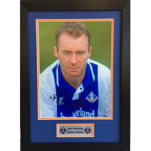 John Sheridan Oldham Athletic Signed Framed Photo Display