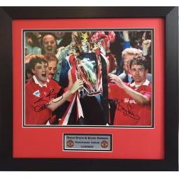 Steve Bruce & Bryan Robson Manchester United Signed Framed Photo Display