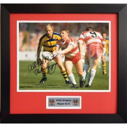 Andy Gregory Wigan Signed Framed Photo Display