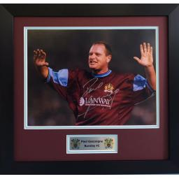 Paul Gascoigne Burnley Signed Framed Photo Display