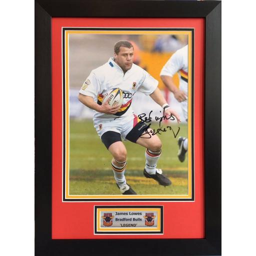 James Lowes Bradford Bulls Signed Framed Photo Display