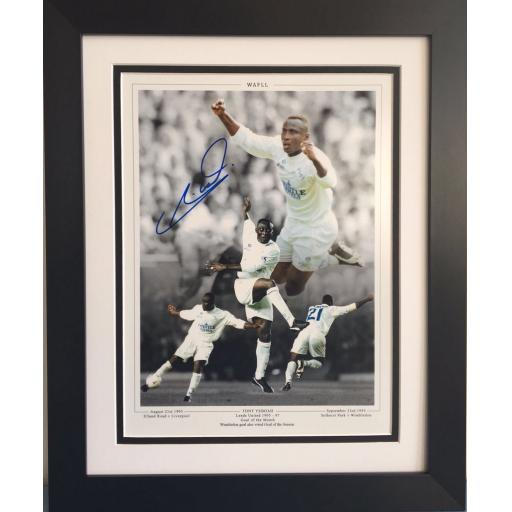 Tony Yeboah Leeds United Signed Framed Photo display