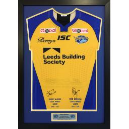 Leeds Rhinos Player Issue Signed Framed Shirt Display