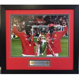 Dwight Yorke & Andy Cole Manchester United Signed Framed Photo Display