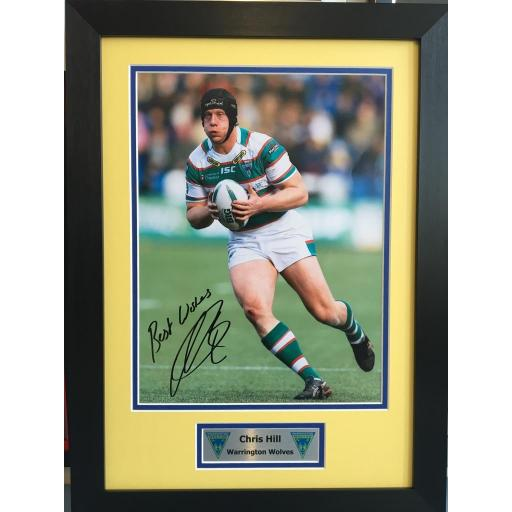 Chris Hill Warrington Wolves Signed Framed Photo Display