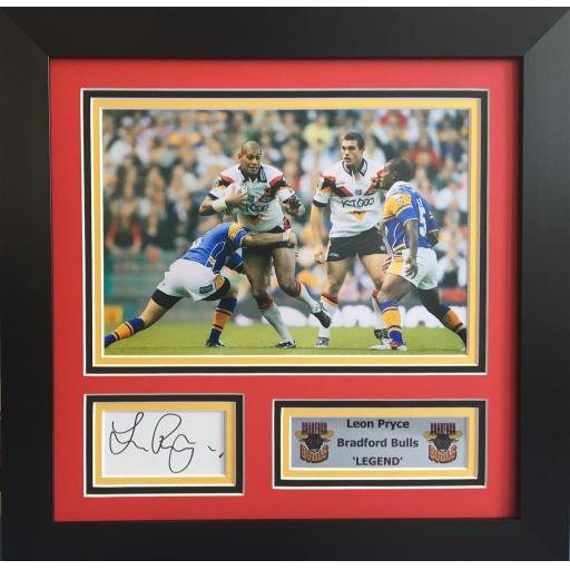 Leon Pryce Bradford Bulls Signed Framed Photo Display