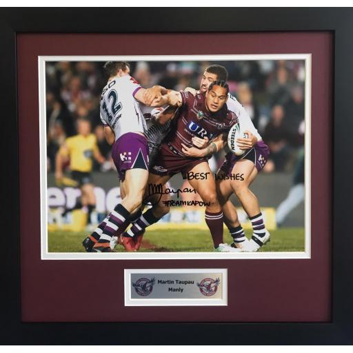 Martin Taupau Manly Signed Framed Photo Display
