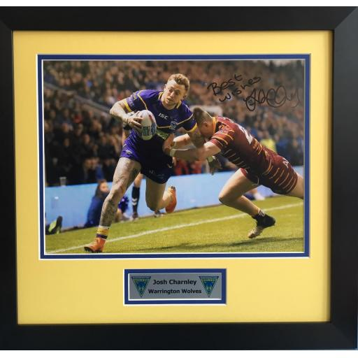 Josh Charnley Warrington Wolves Signed Framed Photo Display