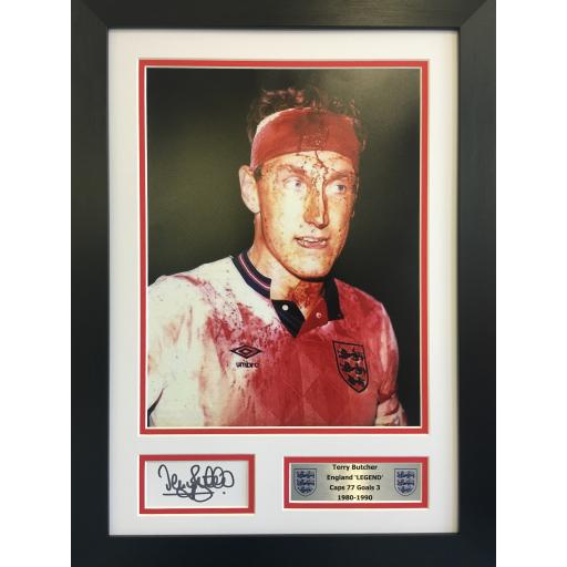 Terry Butcher England Signed 16x12 Photo Framed Display