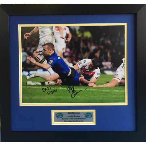 Rob Burrow Leeds Rhinos Signed 16x12 Photo Framed Display