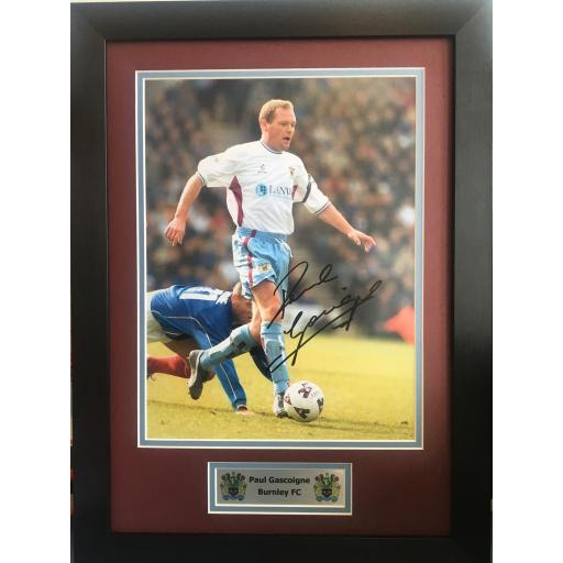 Paul Gascoigne Burnley FC Signed Photo Display