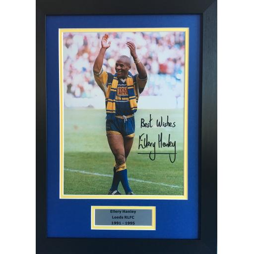 Ellery Hanley Leeds RLFC signed frame photo display
