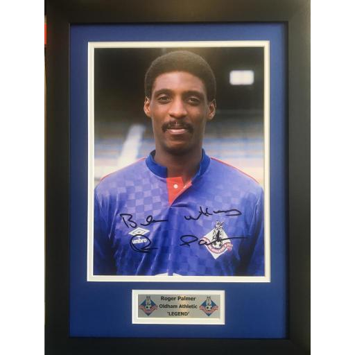 Roger Palmer Oldham Athletic signed framed photo display