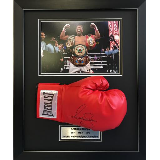 Anthony Joshua Signed Framed Red Boxing Gloved Domed Display