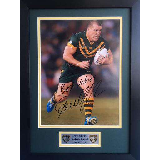 Paul Gallen Australia RL signed framed photo display