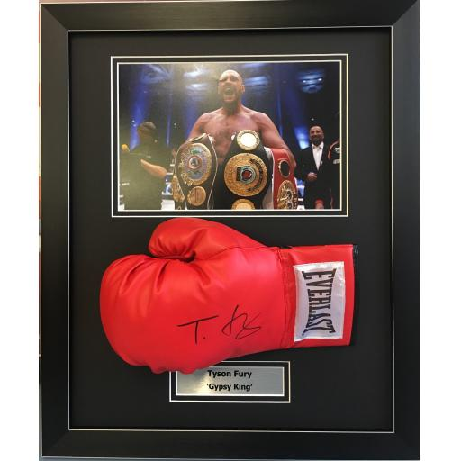 Tyson Fury Signed Red Boxing Glove Domed Display