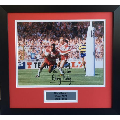 Ellery Hanley Wigan RLFC signed framed photo display