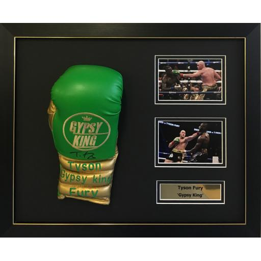 Tyson Fury Signed Green Boxing Glove Domed Display