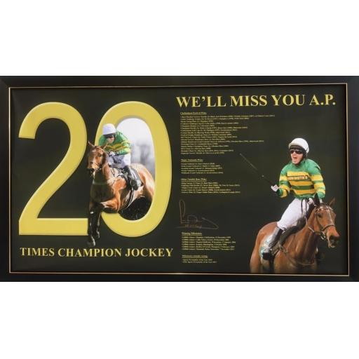 AP McCoy signed frame Large Canvas Display