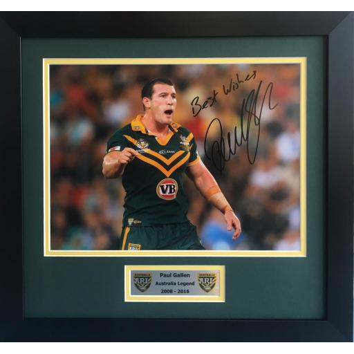 Paul Gallen Australia signed framed photo display