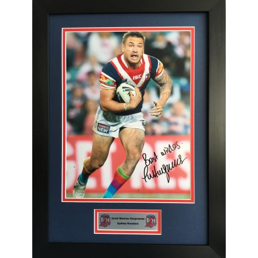 Jared Waerea-Hargreaves Sydney Roosters signed framed photo display