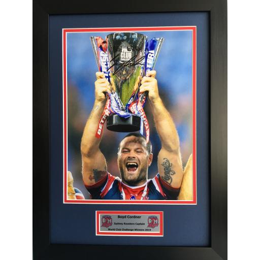 Boyd Cordner Sydney Roosters Signed Framed Photo Display
