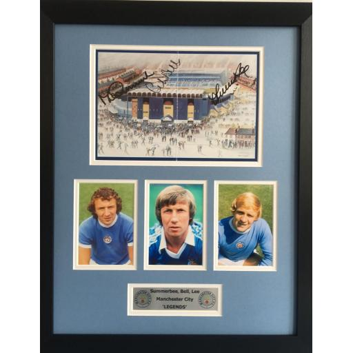 Summerbee Bell Lee Manchester City signed framed display