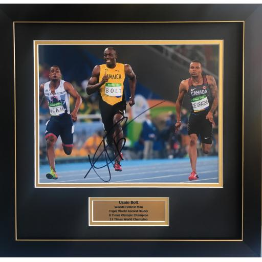 Usain Bolt signed framed photo display