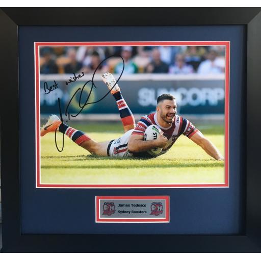 James Tedesco Sydney Roosters signed framed photo display