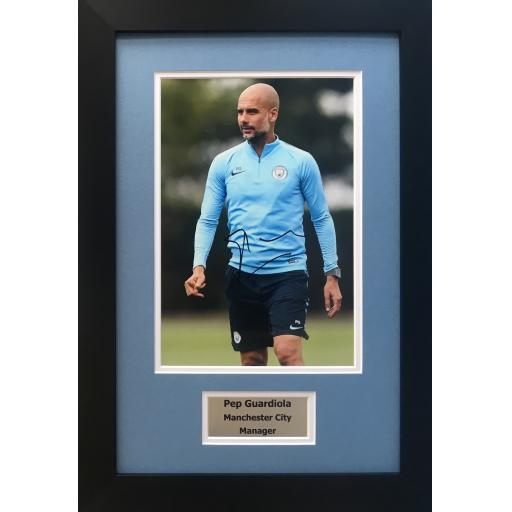 Pep Guardiola Manchester City Signed Photo Display