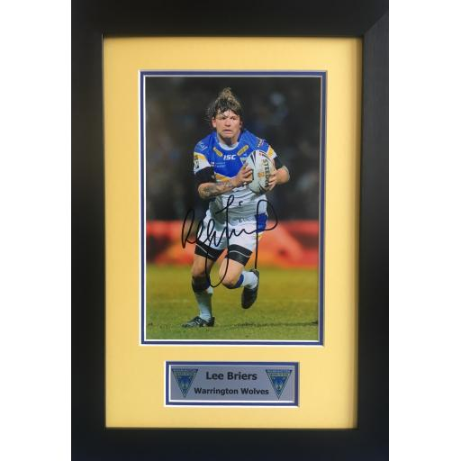 Lee Briers Signed Warrington Wolves Photo Display