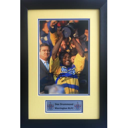 Des Drummond Signed Warrington RLFC Photo Display