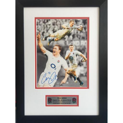 Chris Ashton Signed England Rugby Union Photo Display