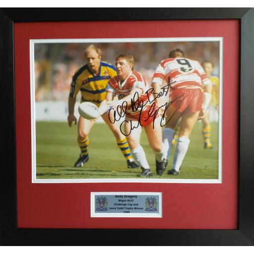 Andy Gregory Signed Wigan RLFC Photo Display