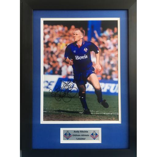 Andy Ritchie Signed Oldham Athletic Photo Display