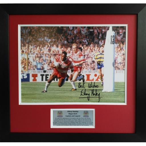 Ellery Hanley Signed Wigan RLFC Photo Display