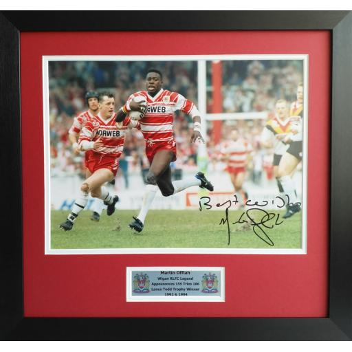 Martin Offiah Signed Wigan RLFC Photo Display