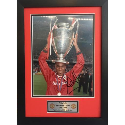 Andy Cole Signed Manchester United Photo Display